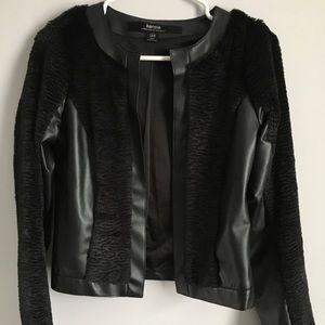 Black Faux leather blazer with fur panels